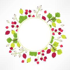Fotobehang Lieveheersbeestjes Fruit greeting card with white, red currant, gooseberry