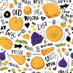 Cheese seamless pattern with hand drawn lettering background with grapes, leaves and particles for packaging and advertising