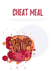 Cheat Meal with french fries illustration and watercolor splashes. Emblem for fast food restaurant, cafe. Weight loss concept. Vector illustration.