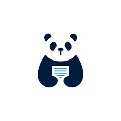 panda paper logo vector icon illustration