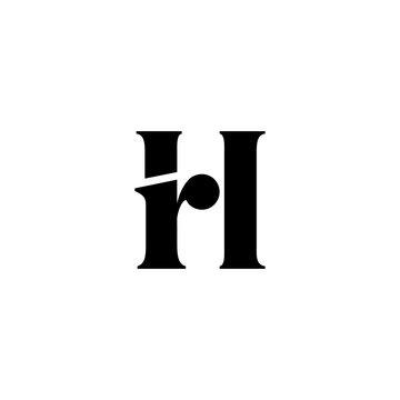 hr letter rh initial logo vector icon