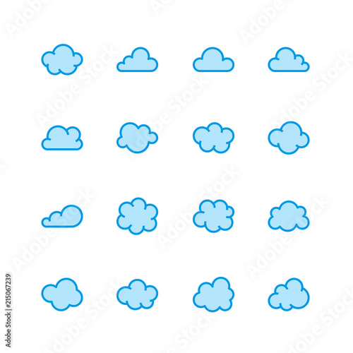 Cloud Flat Line Icons Clouds Symbols For Data Storage Weather