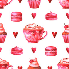 Hand painted seamless pattern with watercolor cup with coffee, cake, macaroons, marshmallows and hearts isolated on white background