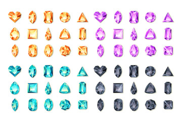 Set of vector realistic turquoise, black, purple, orange gems and jewels on white background. Multicolor shiny diamonds with different cuts. Design elements and icons for holiday gift and jewelry shop
