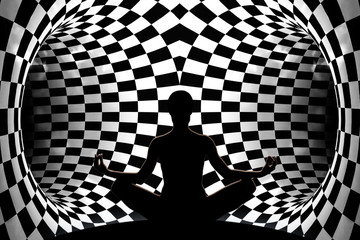 Female yoga figure in front of two dark tunnels before the decision which is the right choice.