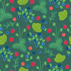 Fruit seamless pattern with wild strawberry, cowberry and blueberry