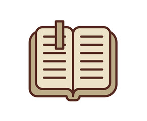 Open book icon, notebook. Line colored vector illustration. Isolated on white background.