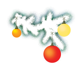 White branch of the New Year tree with three different colored glass spheres. Decoration for the holiday.