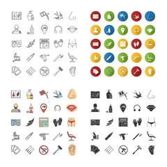 Tattoo studio icons set
