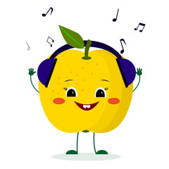 A cute yellow apple character in cartoon style listening to music on headphones.