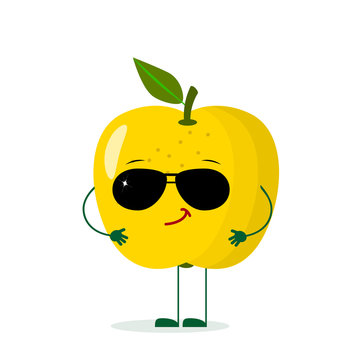 A cute yellow apple character in the style of a cartoon in sunglasses.