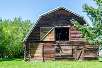 vintage wooden barn with open hayloft and gambrel roof surrounded by lush trees and greenery on a sunny summer day in Montana