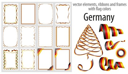 vector elements, ribbons and frames with flag colors Germany, template for your certificate and diploma