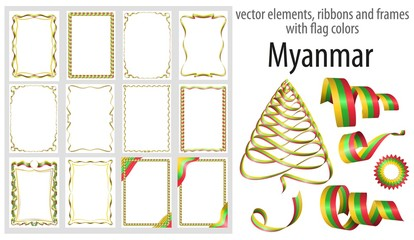 vector elements, ribbons and frames with flag colors Myanmar, template for your certificate and diploma