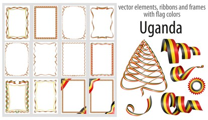 vector elements, ribbons and frames with flag colors Uganda, template for your certificate and diploma
