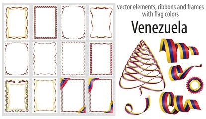 vector elements, ribbons and frames with flag colors Venezuela, template for your certificate and diploma