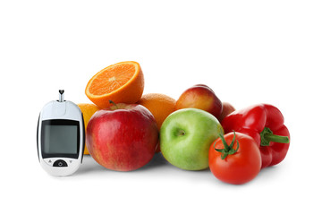 Digital glucometer and healthy food on white background. Diabetes diet