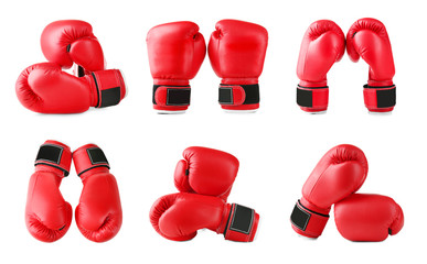 Set of boxing gloves on white background Wall mural