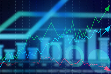 Stock exchange graphs on color background. Financial trading concept