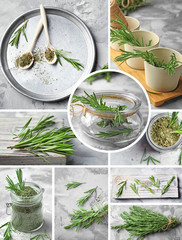 Set with fresh and dried aromatic rosemary