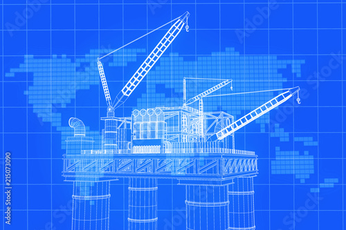 3d rendering blue screen oil rig constructtion plant with 3d rendering blue screen oil rig constructtion plant with background world map on grid line gumiabroncs Choice Image