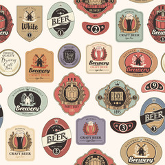 Vector seamless pattern on the theme of beer with various beer labels with images of barrels, beer glasses, mills, laurel wreathes, ears of wheat and other in retro style on light background