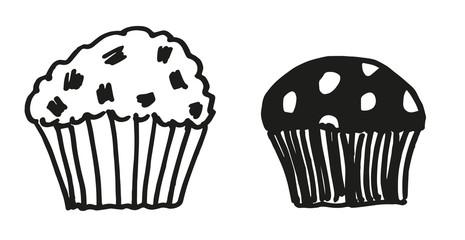 black and white cute muffins cartoon