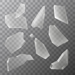 Vector transparent pieces of broken glass isolated on dark background