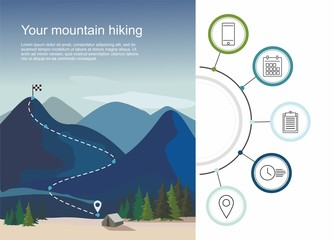 Hiking route infographic with a five steps. Layers of mountain landscape with fir trees