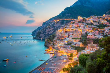 Tuinposter Kust Positano. Aerial image of famous city Positano located on Amalfi Coast, Italy during sunset.