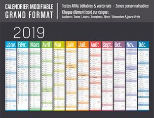 Calendrier 2019 modifiable - Grand format