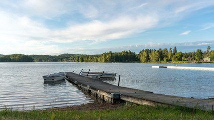 Jetty at a lake, camping ground in Sweden