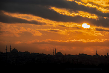 sunrise and city silhouette in istanbul