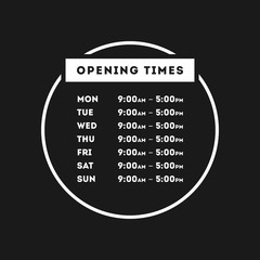 Vector Opening Times Circle Design