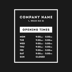 Vector Opening Times Rectangle Design
