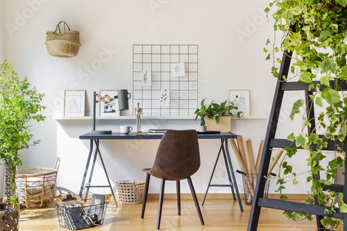 Brown Chair At Desk In White Boho Home Office Interior With Plants Gorgeous Home Office Interior
