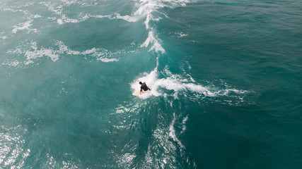 aerial view of surfer in France, wave