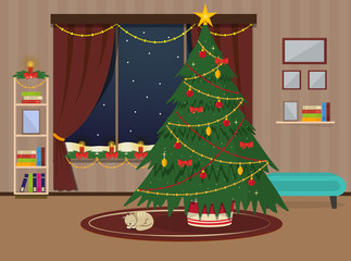 New year cozy living room. Christmas interior. In the room there is a decorated Christmas tree, cat sleep on the carpet, snow falls outside the window. Vector illustration