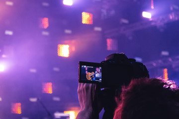 Recording to the camera from a tripod from a concert platform