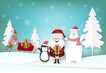 Christmas holiday season paper art, paper craft illustration background