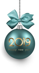 Green 2019 New Year Christmas ball with satin bow.