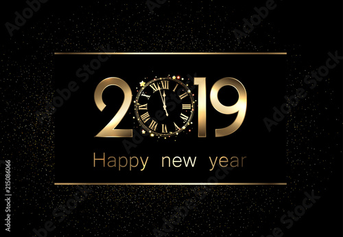 black 2019 new year background with clock