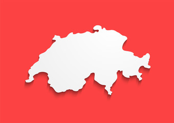 Switzerland Contour Map in colors of national flag. Red banner with white sign