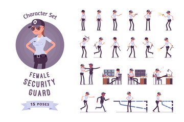 Female security guard ready-to-use character set