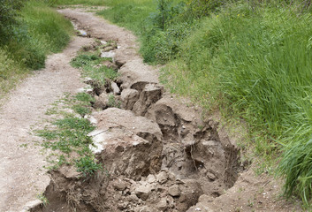 Soil erosion after heavy rain on a mountain path