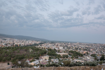 View of Silifke town with blue sky and clouds from hill of silifke castle