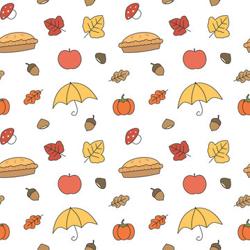 cute colorful fall autumn collection seamless vector pattern background illustration