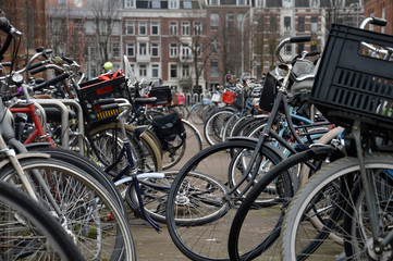 park for bicycle in Amsterdam