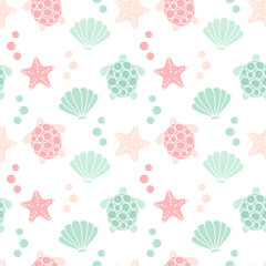 cute lovely summer seamless vector pattern background illustration with turtles, shells and starfishes