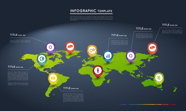 world map with abstract crystal pointers, infographic template